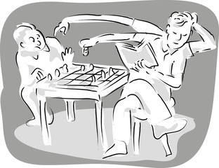 man with 4 arms playing chess