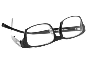 Black reading glasses isolated on white
