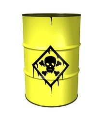 3D illustration of a Toxic waste barrel