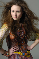 Fashion model with long hair
