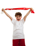 Young sports fan isolated on white background