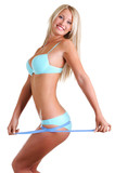 Beautiful happy woman with a slender figure poster