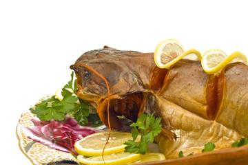 Dinner - fresh-water catfish (sheatfish) with lemon