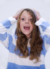 Young girl in Hoodie with Mouth Open