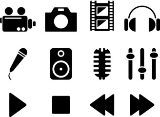 Black media icon set. Vector illustration.