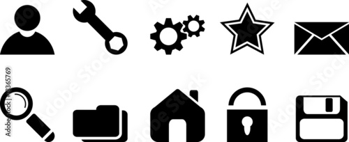 Black web icons. Vector illustration.
