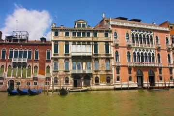 Four Gondolas by Buildings in Venice