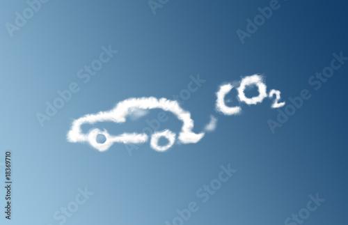 Chmura emisji CO2 w samochodzie