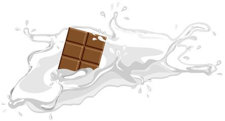 Schokolade fällt in Milch