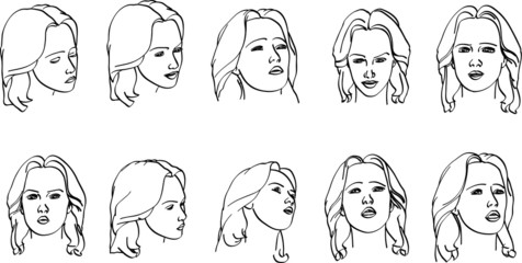 various expressions on a woman's face