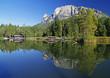 Leinwandbild Motiv Spiegelbild der Dolomiten