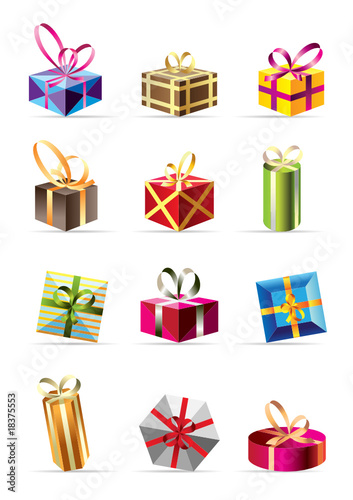 set of  colorful gift boxes - vector illustration