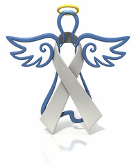 Angel outline white ribbon