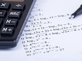 calculator pen and math