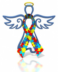 Angel outline autism ribbon