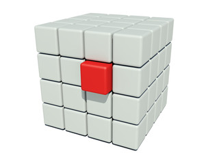 Stack of grey cubes and a unique red