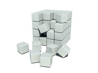 Collapsed stack of cubes