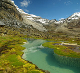 Fototapety High altitude lake and mountains of the Andes with snow