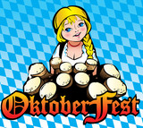 Oktoberfest girl. Girl with beer. Vector art-illustration.