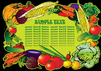 Frame of the different vegetables. Place for sample text.