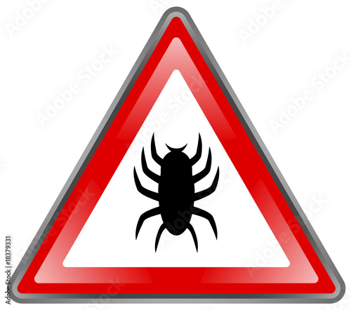 """ Bug - Virus "" Sign (triangle - roadsign - shiny - vector)"