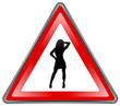 """Panneau """"Femme Sexy"""" (triangle - effet brillant - vecteur)"""