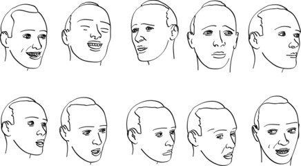 various expressions on a man's face