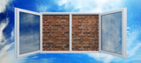 Window put by a bricklaying poster
