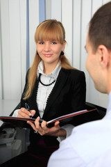 Girl with the folder of documents