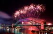 Leinwanddruck Bild - Sydney Harbour Bridge and fireworks