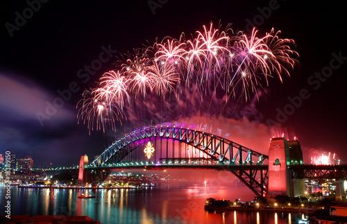 Foto op Plexiglas Bruggen Sydney Harbour Bridge and fireworks