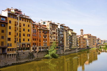 Colorful Buildings Along Arno River in Florence