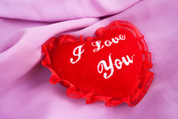 Valentine heart - soft pillow with I love you embroidering.