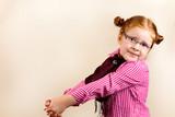 Portrait of cute elegant redhead girl begging for somthing poster