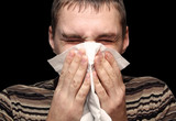 Young male having a cold or allergy poster
