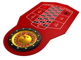 Roulettetisch Rot 3D