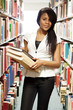 Teenage black girl in the library
