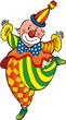 Funny clown on a white background. Vector art-illustration.