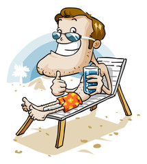 Vacation on Beach. Cartoon Series