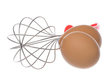 Egg Beater and Eggs Isolated