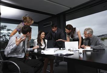 Stressed business team