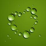 Vector dew drops heart. No mesh.
