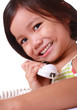 young girl talking on the telephone