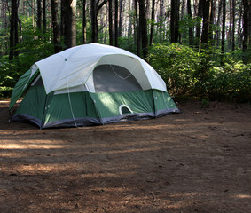 Green Tent in the Forest