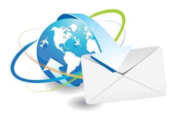 world map and e-mail icon