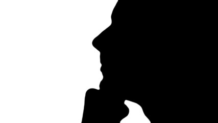 Man ponders in silhouette - HD