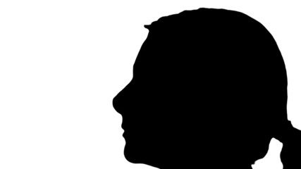 Woman sticks tongue out in silhouette - HD