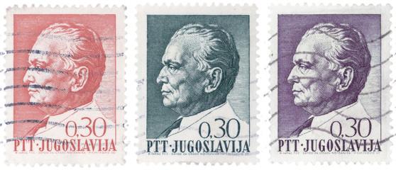 Vintage stamps of Josip Broz Tito, former Yugoslav communist