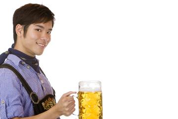 Man holding Oktoberfest beer stein (Mass) - Mann hält Maßkrug