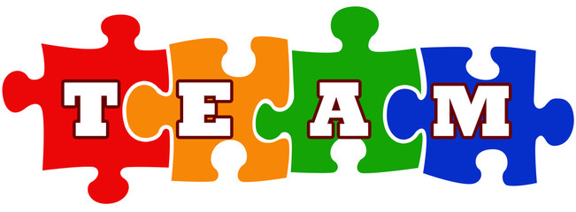 Team work concept with jigsaw puzzle